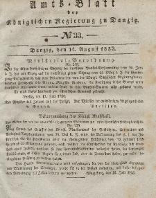 Amts-Blatt der Königlichen Regierung zu Danzig, 14. August 1833, Nr. 33