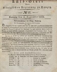 Amts-Blatt der Königlichen Regierung zu Danzig, 11. September 1833, Nr. 37