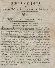 Amts-Blatt der Königlichen Regierung zu Danzig, 25. September 1833, Nr. 39