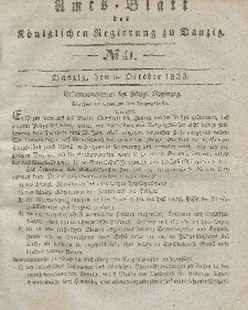 Amts-Blatt der Königlichen Regierung zu Danzig, 9. Oktober 1833, Nr. 41