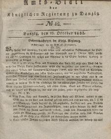 Amts-Blatt der Königlichen Regierung zu Danzig, 16. Oktober 1833, Nr. 42