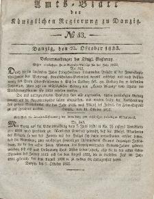 Amts-Blatt der Königlichen Regierung zu Danzig, 23. Oktober 1833, Nr. 43