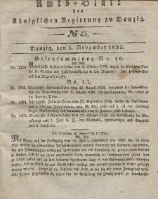 Amts-Blatt der Königlichen Regierung zu Danzig, 6. November 1833, Nr. 45