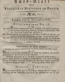 Amts-Blatt der Königlichen Regierung zu Danzig, 13. November 1833, Nr. 46