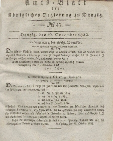 Amts-Blatt der Königlichen Regierung zu Danzig, 20. November 1833, Nr. 47
