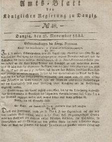 Amts-Blatt der Königlichen Regierung zu Danzig, 27. November 1833, Nr. 48