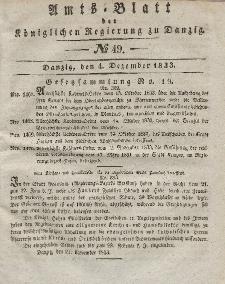 Amts-Blatt der Königlichen Regierung zu Danzig, 4. Dezember 1833, Nr. 49