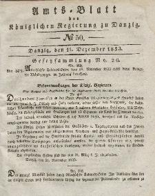 Amts-Blatt der Königlichen Regierung zu Danzig, 11. Dezember 1833, Nr. 50