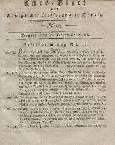 Amts-Blatt der Königlichen Regierung zu Danzig, 18. Dezember 1833, Nr. 51