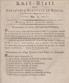 Amts-Blatt der Königlichen Regierung zu Danzig, 5. Januar 1831, Nr. 1