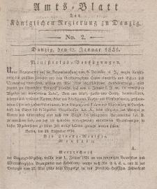 Amts-Blatt der Königlichen Regierung zu Danzig, 12. Januar 1831, Nr. 2