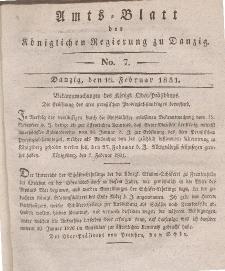 Amts-Blatt der Königlichen Regierung zu Danzig, 16. Februar 1831, Nr. 7