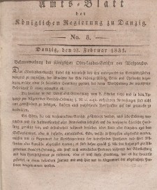 Amts-Blatt der Königlichen Regierung zu Danzig, 23. Februar 1831, Nr. 8