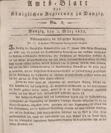 Amts-Blatt der Königlichen Regierung zu Danzig, 2. März 1831, Nr. 9