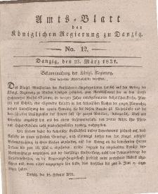 Amts-Blatt der Königlichen Regierung zu Danzig, 23. März 1831, Nr. 12