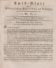 Amts-Blatt der Königlichen Regierung zu Danzig, 30. März 1831, Nr. 13