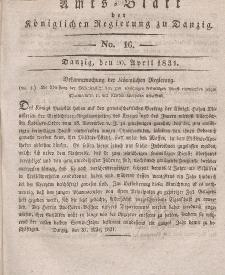 Amts-Blatt der Königlichen Regierung zu Danzig, 20. April 1831, Nr. 16