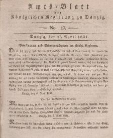 Amts-Blatt der Königlichen Regierung zu Danzig, 27. April 1831, Nr. 17