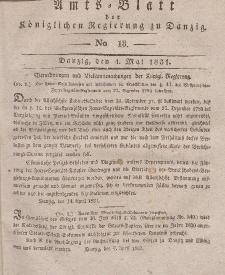 Amts-Blatt der Königlichen Regierung zu Danzig, 4. Mai 1831, Nr. 18