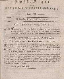 Amts-Blatt der Königlichen Regierung zu Danzig, 25. Mai 1831, Nr. 21