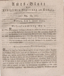 Amts-Blatt der Königlichen Regierung zu Danzig, 1. Juni 1831, Nr. 22