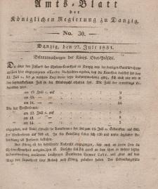 Amts-Blatt der Königlichen Regierung zu Danzig, 27. Juli 1831, Nr. 30