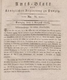 Amts-Blatt der Königlichen Regierung zu Danzig, 3. August 1831, Nr. 31