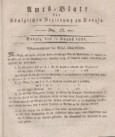 Amts-Blatt der Königlichen Regierung zu Danzig, 17. August 1831, Nr. 33
