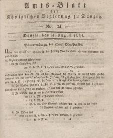 Amts-Blatt der Königlichen Regierung zu Danzig, 24. August 1831, Nr. 34