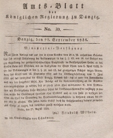Amts-Blatt der Königlichen Regierung zu Danzig, 28. September 1831, Nr. 39