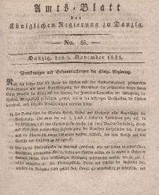 Amts-Blatt der Königlichen Regierung zu Danzig, 9. November 1831, Nr. 45