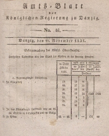 Amts-Blatt der Königlichen Regierung zu Danzig, 16. November 1831, Nr. 46