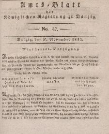 Amts-Blatt der Königlichen Regierung zu Danzig, 23. November 1831, Nr. 47