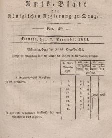 Amts-Blatt der Königlichen Regierung zu Danzig, 7. Dezember 1831, Nr. 49