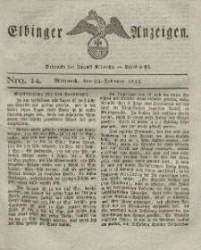 Elbinger Anzeigen, Nr. 14. Mittwoch, 23. Februar 1825
