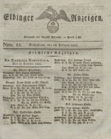 Elbinger Anzeigen, Nr. 15. Sonnabend, 26. Februar 1825