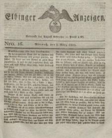 Elbinger Anzeigen, Nr. 16. Mittwoch, 2. März 1825