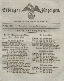 Elbinger Anzeigen, Nr. 29. Sonnabend, 16. April 1825