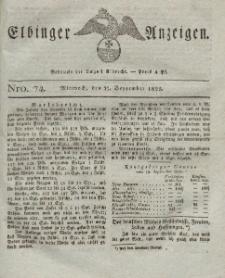 Elbinger Anzeigen, Nr. 74. Mittwoch, 21. September 1825