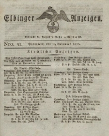 Elbinger Anzeigen, Nr. 91. Sonnabend, 19. November 1825