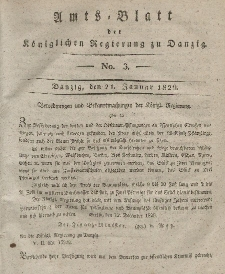 Amts-Blatt der Königlichen Regierung zu Danzig, 21. Januar 1829, Nr. 3