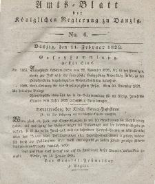 Amts-Blatt der Königlichen Regierung zu Danzig, 11. Februar 1829, Nr. 6