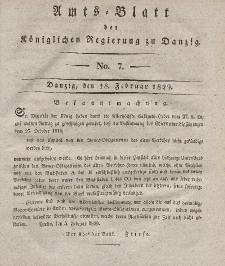 Amts-Blatt der Königlichen Regierung zu Danzig, 18. Februar 1829, Nr. 7