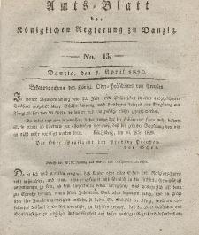 Amts-Blatt der Königlichen Regierung zu Danzig, 1. April 1829, Nr. 13
