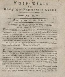Amts-Blatt der Königlichen Regierung zu Danzig, 15. April 1829, Nr. 15