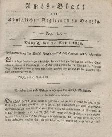Amts-Blatt der Königlichen Regierung zu Danzig, 29. April 1829, Nr. 17