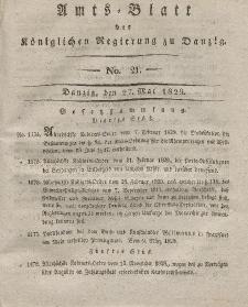 Amts-Blatt der Königlichen Regierung zu Danzig, 27. Mai 1829, Nr. 21