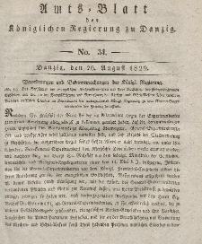 Amts-Blatt der Königlichen Regierung zu Danzig, 26. August 1829, Nr. 34