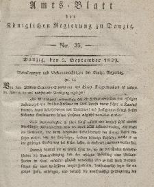 Amts-Blatt der Königlichen Regierung zu Danzig, 2. September 1829, Nr. 35