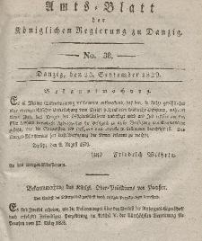 Amts-Blatt der Königlichen Regierung zu Danzig, 23. September 1829, Nr. 38